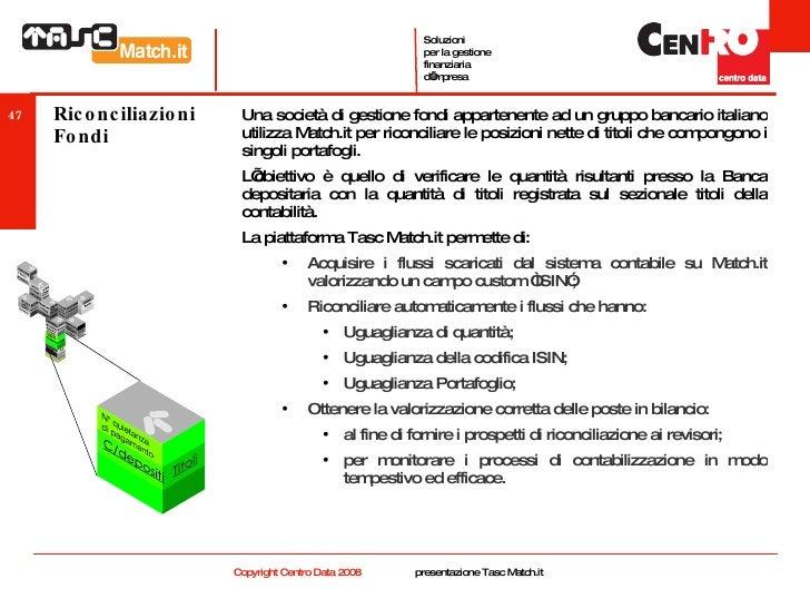 Riconciliazioni Fondi <ul><li>Una società di gestione fondi appartenente ad un gruppo bancario italiano utilizza Match.it ...