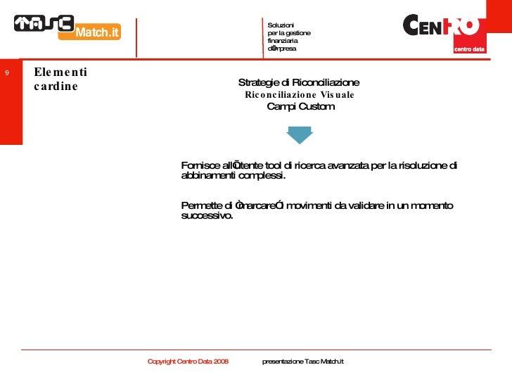 Elementi cardine <ul><li>Fornisce all'utente tool di ricerca avanzata per la risoluzione di abbinamenti complessi. </li></...