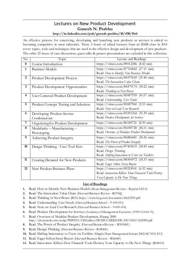 Lectures on New Product Development Ganesh N. Prabhu http://in.linkedin.com/pub/ganesh-prabhu/10/498/8b6 An effective proc...