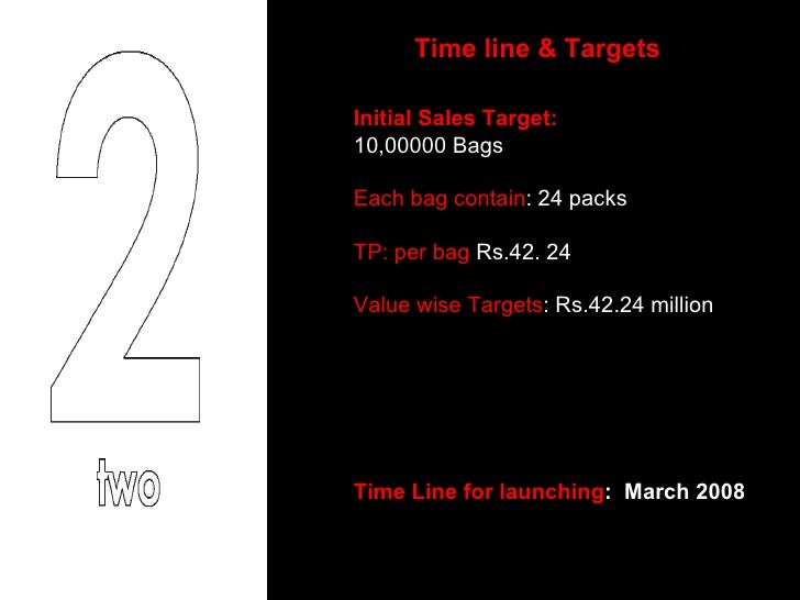 Time line & Targets Initial Sales Target: 10,00000 Bags  Each bag contain : 24 packs  TP: per bag  Rs.42. 24 Value wise Ta...