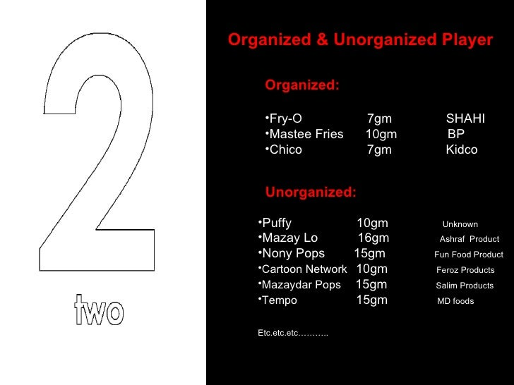 Organized & Unorganized Player  <ul><li>Organized: </li></ul><ul><li>Fry-O  7gm  SHAHI </li></ul><ul><li>Mastee Fries  10g...