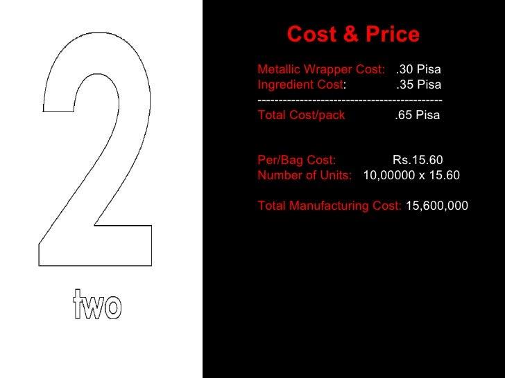 Cost & Price Metallic Wrapper Cost:   .30 Pisa Ingredient Cost :  .35 Pisa -------------------------------------------- To...