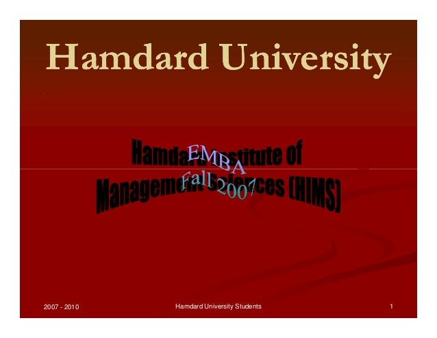 Hamdard UniversityHamdard UniversityHamdard UniversityHamdard University .. 2007 - 2010 1Hamdard University Students