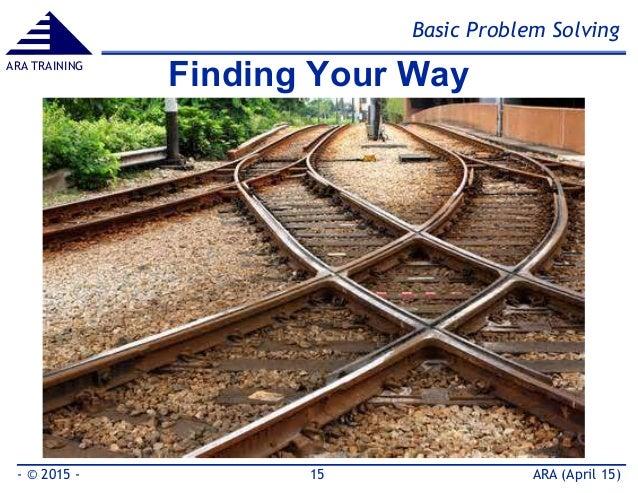 Basic Problem Solving ARA (April 15)- © 2015 - 15 ARA TRAINING Finding Your Way