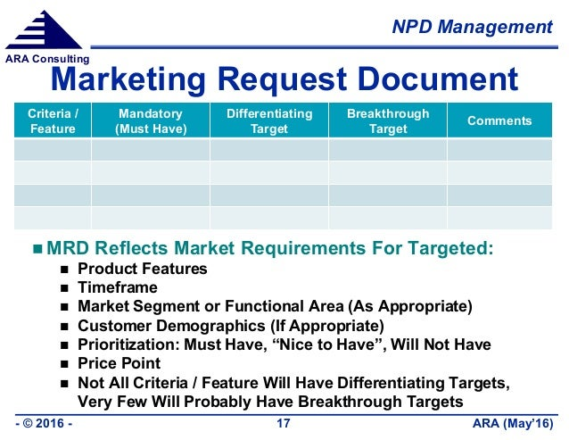 NPD Management ARA (May'16)- © 2016 - 17 ARA Consulting Marketing Request Document Criteria / Feature Mandatory (Must Have...