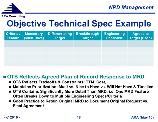 NPD Management ARA (May'16)- © 2016 - 18 ARA Consulting Objective Technical Spec Example  OTS Reflects Agreed Plan of Rec...