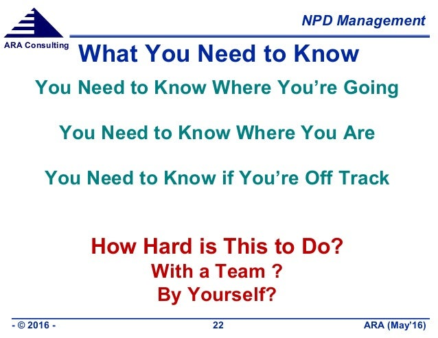 NPD Management ARA (May'16)- © 2016 - 22 ARA Consulting What You Need to Know You Need to Know Where You're Going You Need...