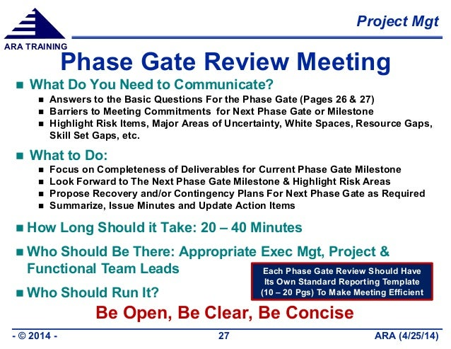 Project Mgt ARA (4/25/14)- © 2014 - 27 ARA TRAINING Phase Gate Review Meeting  What Do You Need to Communicate?  Answers...