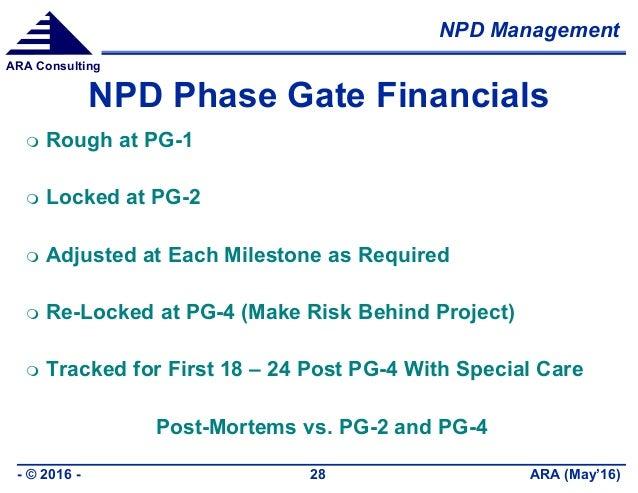 NPD Management ARA (May'16)- © 2016 - 28 ARA Consulting NPD Phase Gate Financials  Rough at PG-1  Locked at PG-2  Adjus...