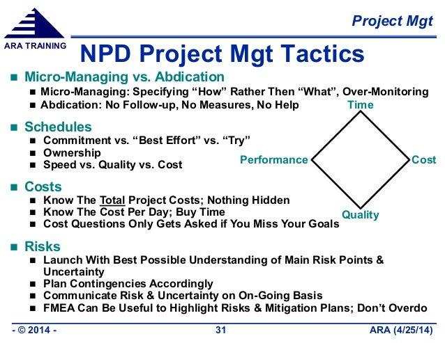 Project Mgt ARA (4/25/14)- © 2014 - 31 ARA TRAINING NPD Project Mgt Tactics  Micro-Managing vs. Abdication  Micro-Managi...