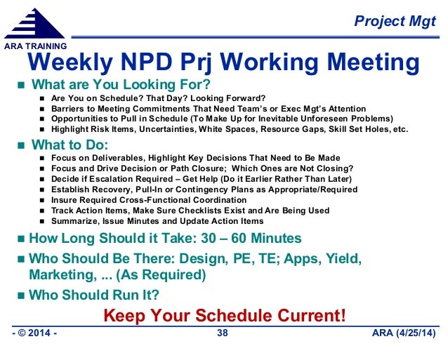 Project Mgt ARA (4/25/14)- © 2014 - 38 ARA TRAINING Weekly NPD Prj Working Meeting  What are You Looking For?  Are You o...