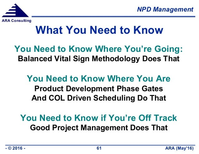 NPD Management ARA (May'16)- © 2016 - 61 ARA Consulting What You Need to Know You Need to Know Where You're Going: Balance...