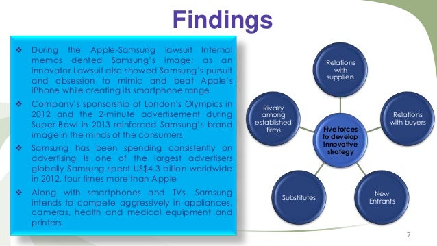Findings     During the Apple-Samsung lawsuit Internal memos dented Samsung's image; as an innovator Lawsuit also showed...