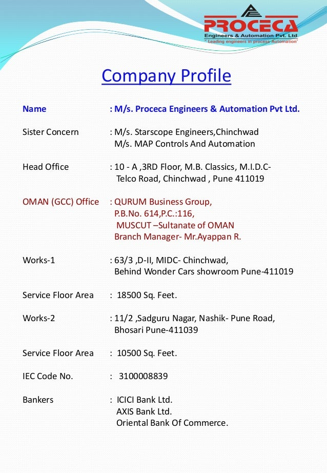 PROCECA ENGINEERS AND AUTOMATION PVT.LTD , Company Profile