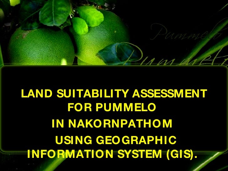 LAND SUITABILITY ASSESSMENT FOR PUMMELO  IN NAKORNPATHOM  USING GEOGRAPHIC INFORMATION SYSTEM (GIS).