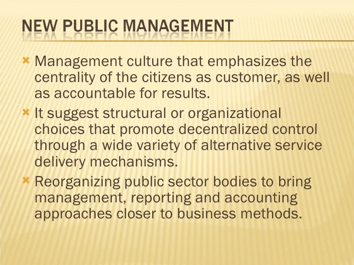 new public management reforms in the delivery of