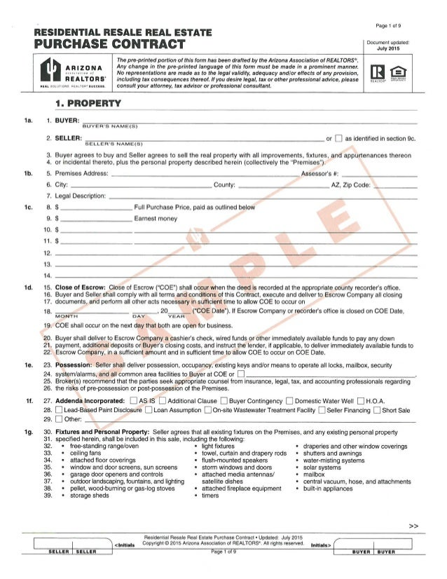 Page 1 Of 9 RESIDENTIAL RESALE REAL ESTATE PURCHASE CONTRACT Document  Updated: July 2015 The ...