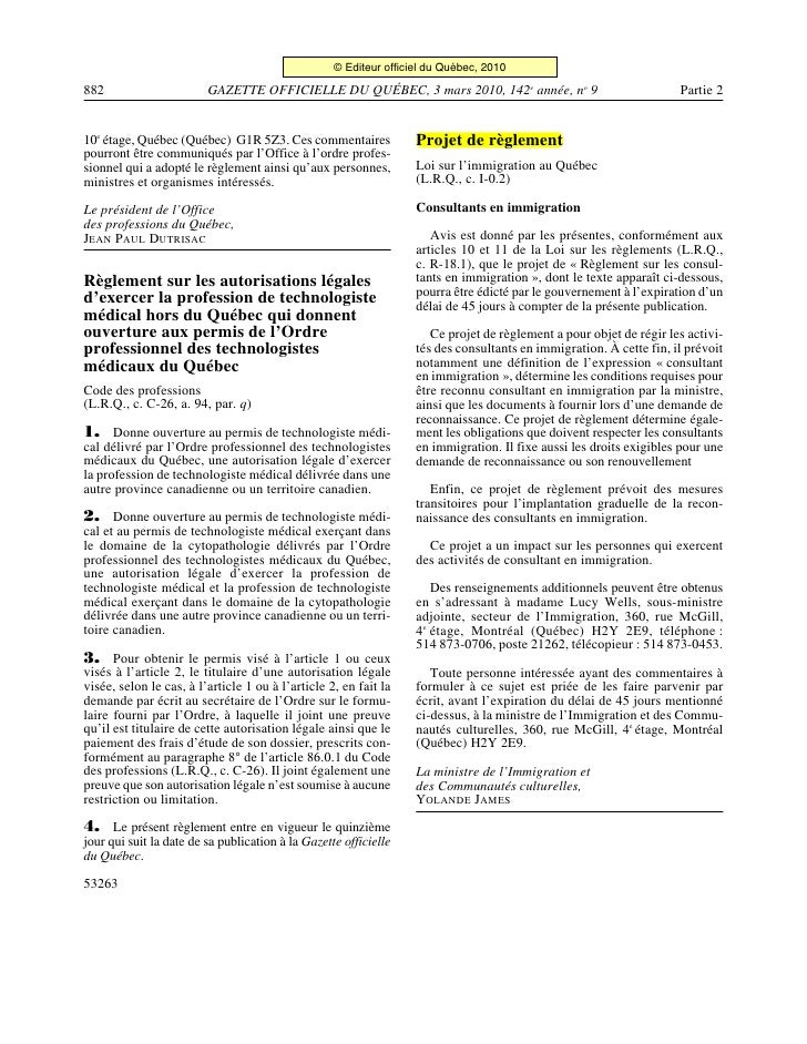© Editeur officiel du Québec, 2010  882                       GAZETTE OFFICIELLE DU QUÉBEC, 3 mars 2010, 142e année, no 9 ...