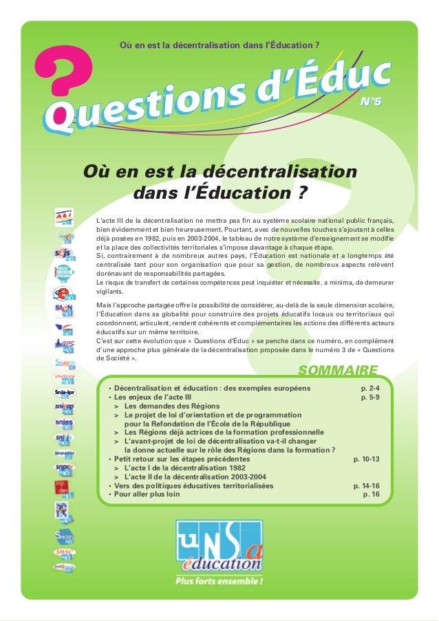 Où en est la décentralisation dans l'Éducation ?                                                                          ...