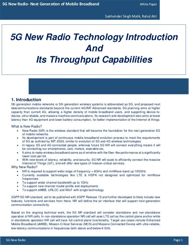 5G New Radio Technology Throughput Calculation