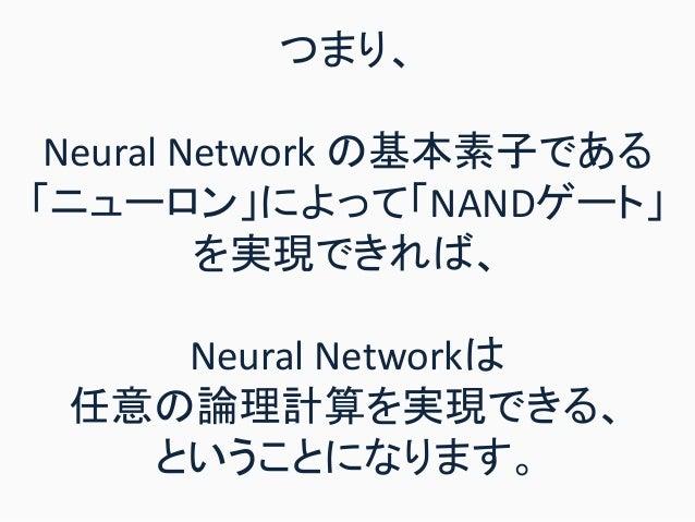 つまり、 Neural Network の基本素子である 「ニューロン」によって「NANDゲート」 を実現できれば、 Neural Networkは 任意の論理計算を実現できる、 ということになります。