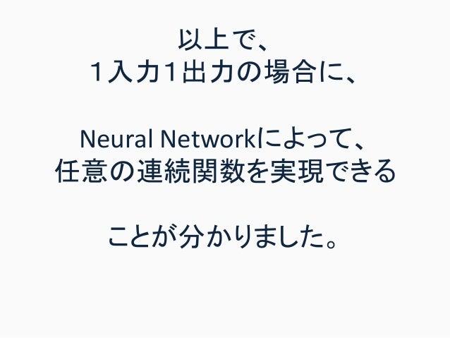 以上で、 1入力1出力の場合に、 Neural Networkによって、 任意の連続関数を実現できる ことが分かりました。
