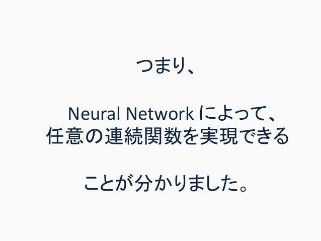 つまり、 Neural Network によって、 任意の連続関数を実現できる ことが分かりました。