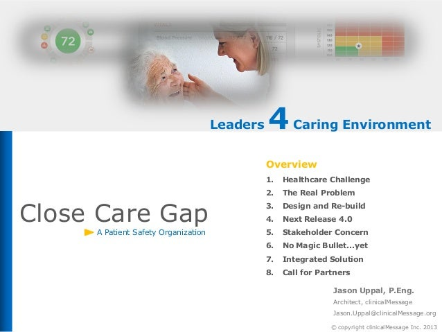 Leaders  4 Caring Environment Overview 1. 2.  Close Care Gap A Patient Safety Organization  Healthcare Challenge The Real ...