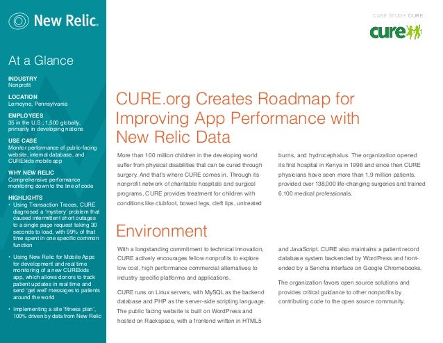 CURE.org Creates Roadmap forImproving App Performance withNew Relic DataMore than 100 million children in the developing w...