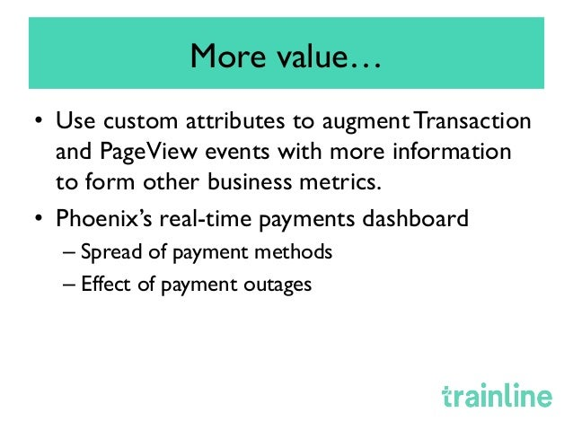 How Trainline uses New Relic • Monitoring/Production Support for near real time running health of system • Product owner...