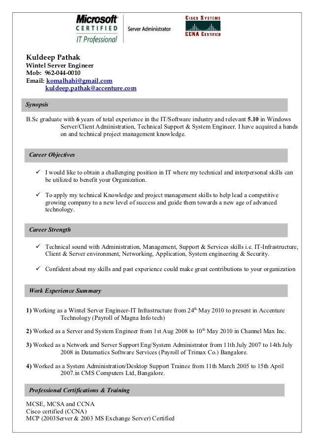 wintel u0026 windows server support profile resume template for server position
