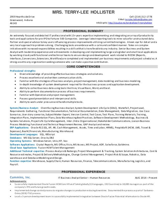 Resume - Sr. Business Analyst. MRS. TERRY-LEE HOLLISTER 2959  HearthsideDrive Cell:(214) 212-1778 ...