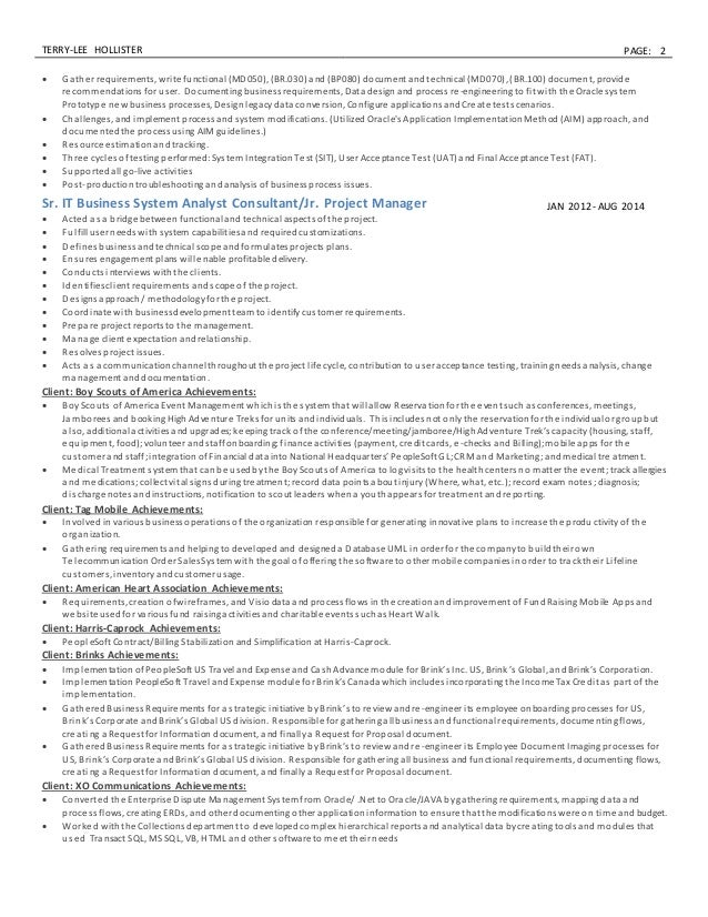 resume sr business analyst