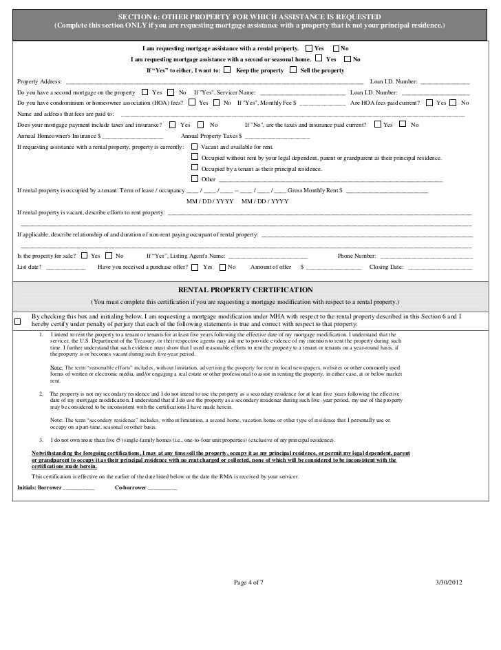 RMA - Request for mortgage assistance