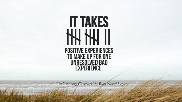 "It takes - ""Understanding Customers"" by Ruby Newell-Legner Positive experiences to make up for one unresolved bad experien..."