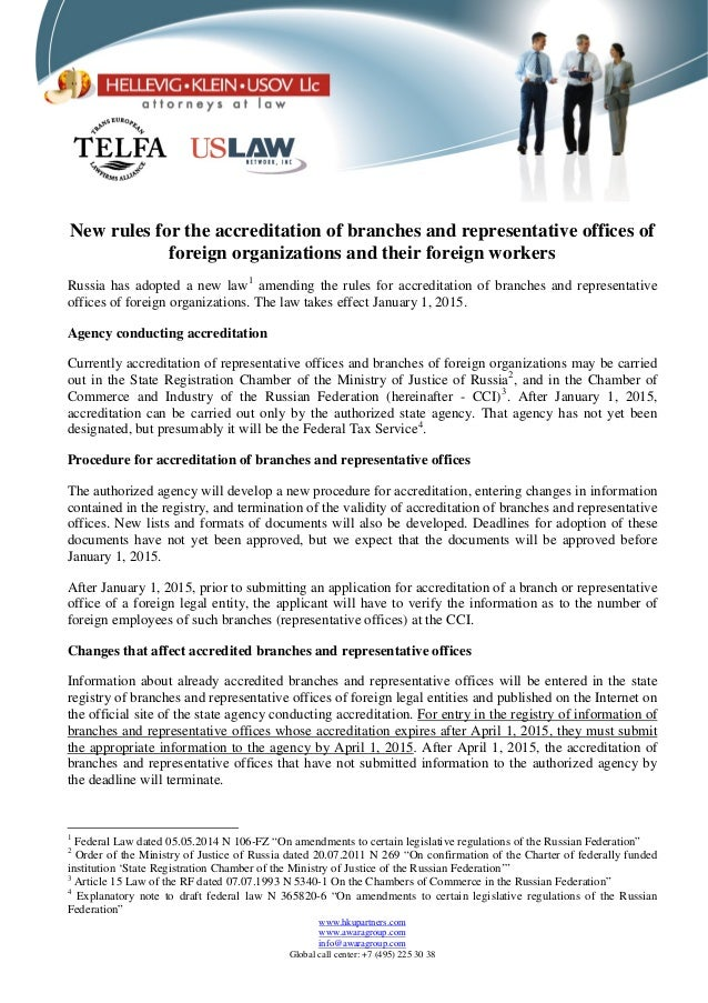 New rules for the accreditation of branches and representative offices of foreign organizations and their foreign workers ...