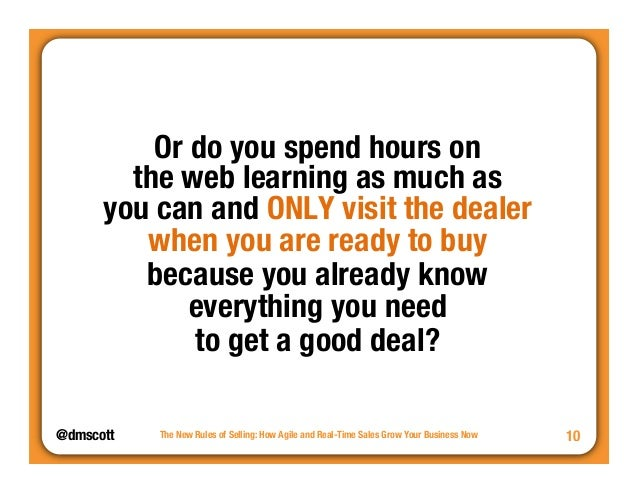 """@dmscott  The New Rules of Selling: How Agile and Real-Time Sales Grow Your Business Now  10  Or do you spend hours on""""  t..."""