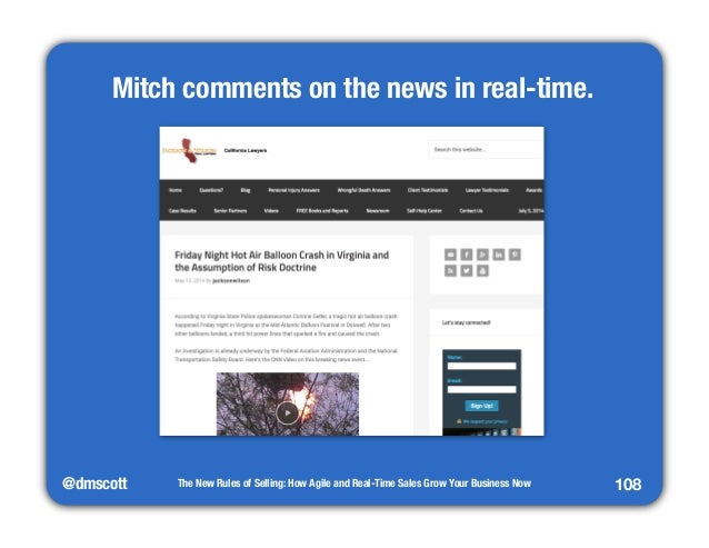 @dmscott  The New Rules of Selling: How Agile and Real-Time Sales Grow Your Business Now  108  Mitch comments on the news ...