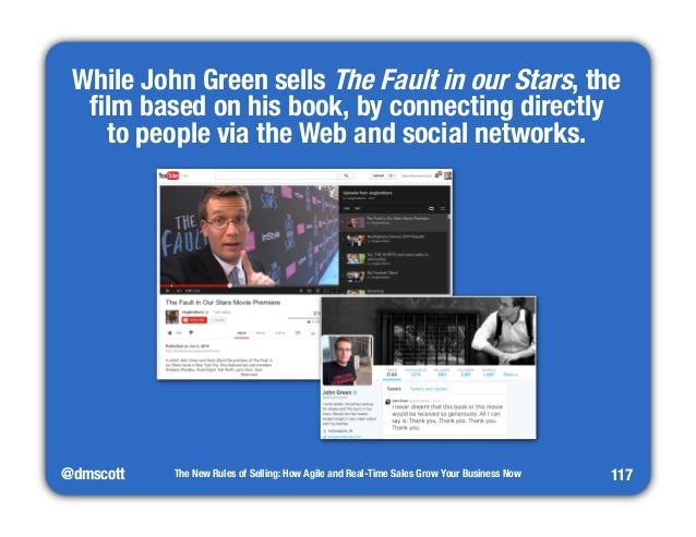 """While John Green sells The Fault in our Stars, the  film based on his book, by connecting directly""""  to people via the Web..."""