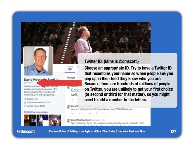 Twitter ID: (Mine is @dmscott.)  Choose an appropriate ID. Try to have a Twitter ID  that resembles your name so when peop...