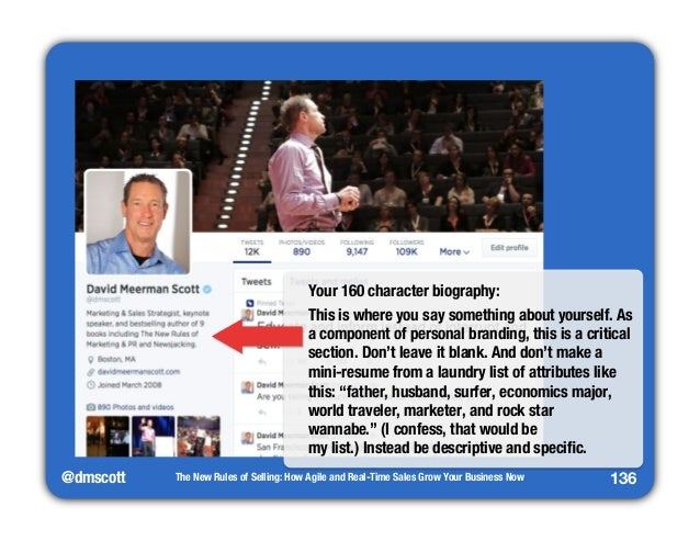 @dmscott  Your 160 character biography:  This is where you say something about yourself. As  a component of personal brand...
