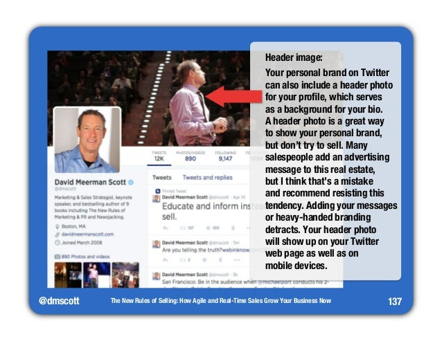 """@dmscott  Header image:  Your personal brand on Twitter  can also include a header photo  for your profile, which serves"""" ..."""