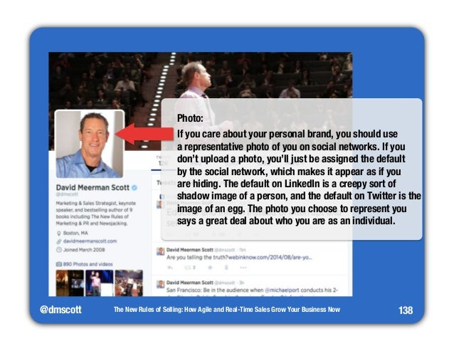 """@dmscott  Photo:  If you care about your personal brand, you should use""""  a representative photo of you on social networks..."""