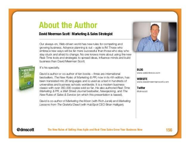 David Meerman Scott | Marketing & Sales Strategist  @dmscottThe New Rules of Selling: How Agile and Real-Time Sales Grow Y...
