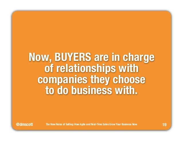 """@dmscott  The New Rules of Selling: How Agile and Real-Time Sales Grow Your Business Now  19  Now, BUYERS are in charge""""  ..."""