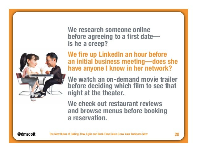 """@dmscott  We research someone online """"  before agreeing to a first date—""""  is he a creep?  We fire up LinkedIn an hour bef..."""
