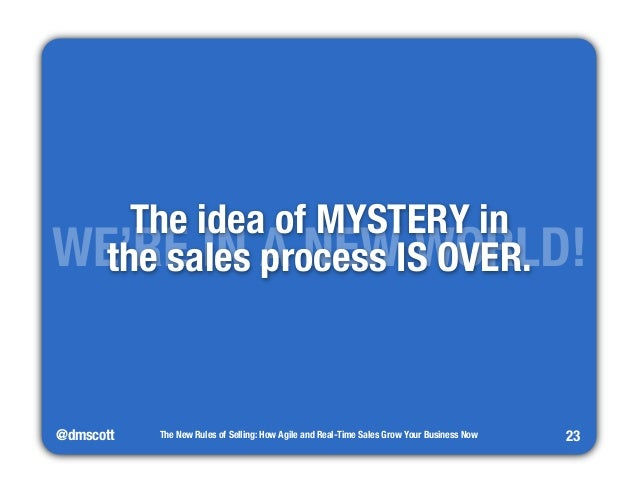 """WE'TRhEe iIdNea A o fN MEYWST EWRYO iRn""""LD!  the sales process IS OVER.  @dmscott  The New Rules of Selling: How Agile and..."""