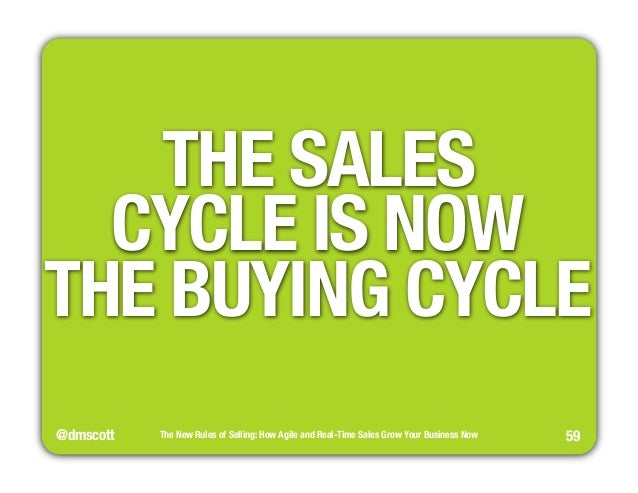 """THE SALES""""  CYCLE IS NOW""""  THE BUYING CYCLE  @dmscott  The New Rules of Selling: How Agile and Real-Time Sales Grow Your B..."""
