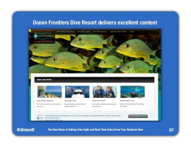 @dmscott  The New Rules of Selling: How Agile and Real-Time Sales Grow Your Business Now  67  Ocean Frontiers Dive Resort ...
