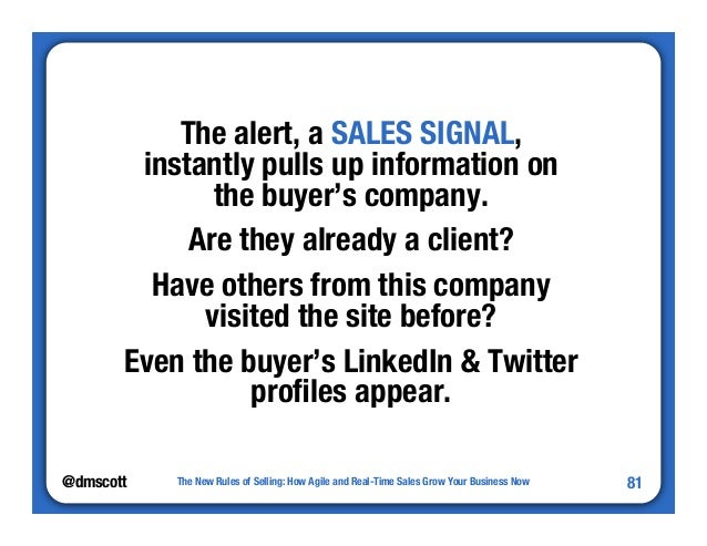 """@dmscott  The New Rules of Selling: How Agile and Real-Time Sales Grow Your Business Now  81  The alert, a SALES SIGNAL,"""" ..."""